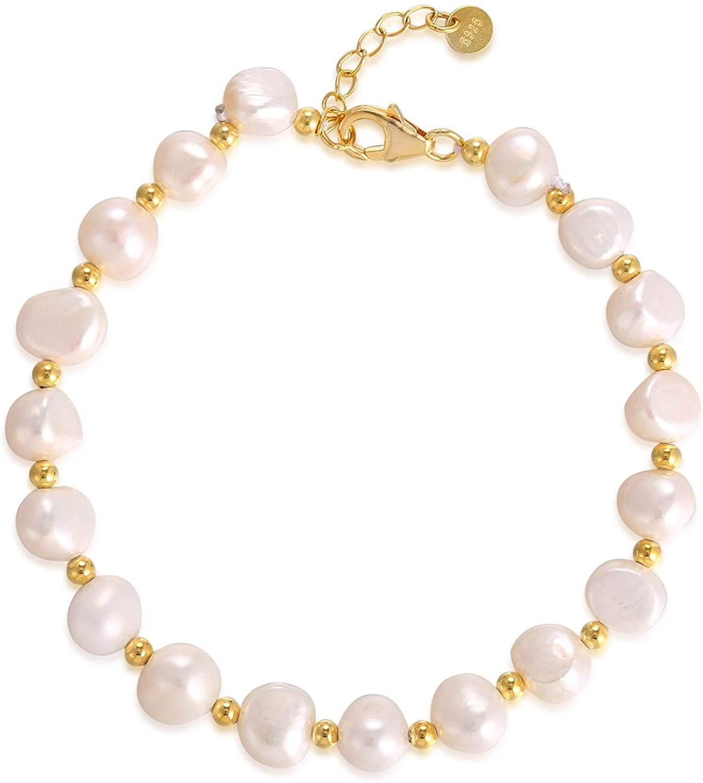 FM FM42 925 Sterling Silver Baroque Style Cultured Pink White Multicolor Pearl Handmade Adjustable Bracelet (3 Colors)