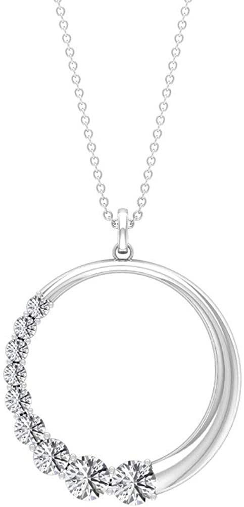 1.78 Carat Round SGL Certified Moissanite Circle Pendant, Half White Stone Design Open Circle Pendant Necklace, Handmade Minimalist Stackable Pendants