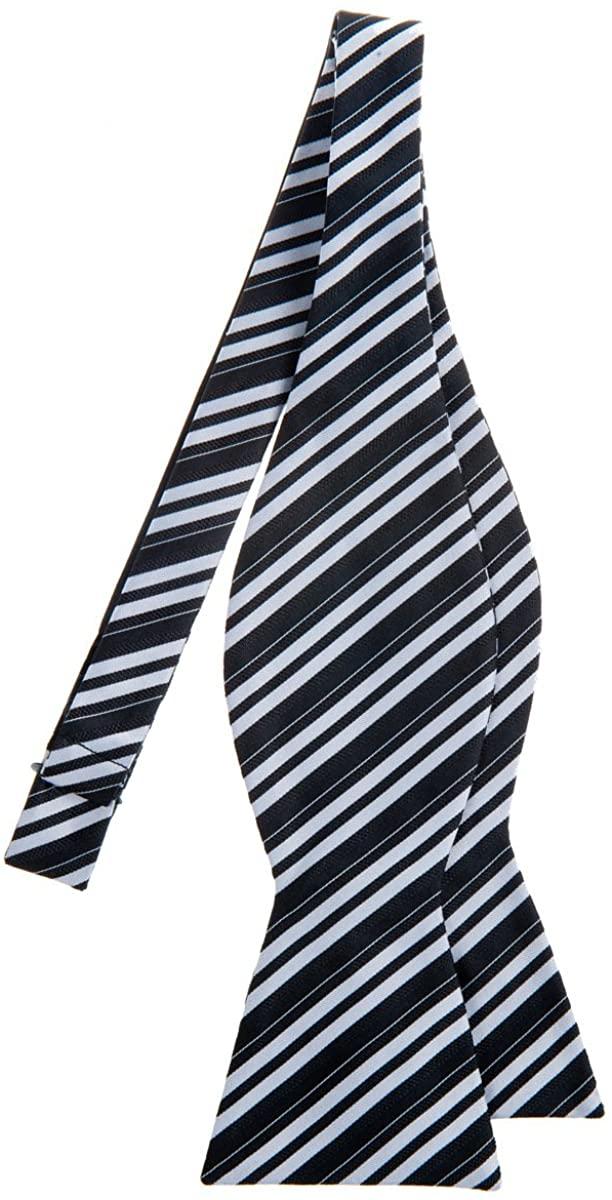 Retreez Retro Multi Tone Stripe Woven Microfiber Self Tie Bow Tie - Various Colors