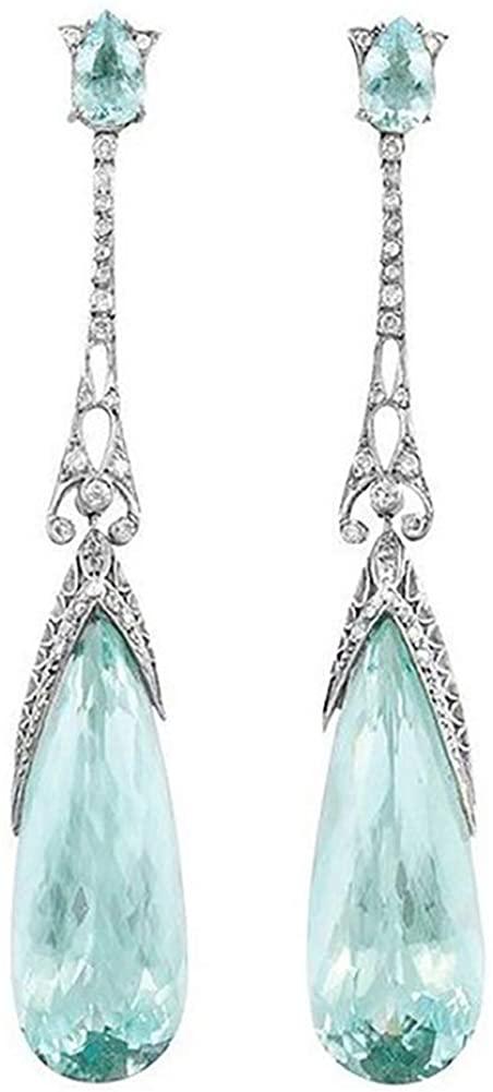 Fashion Women Faux Topaz Inlaid Water Drop Dangle Stud Earrings Jewelry Gift Dangle Earrings for Women Girls