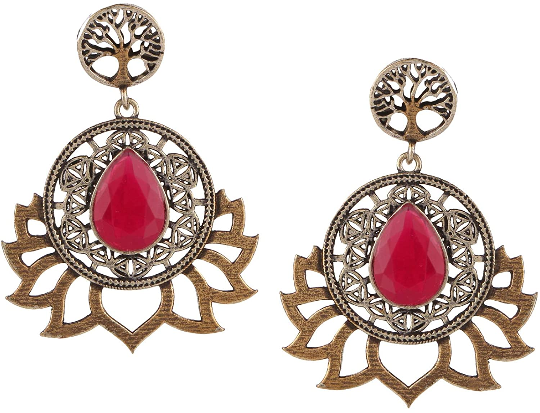 Efulgenz Boho Vintage Antique Ethnic Gypsy Tribal Indian Oxidized Silver Lotus Dangle Earrings Jewelry