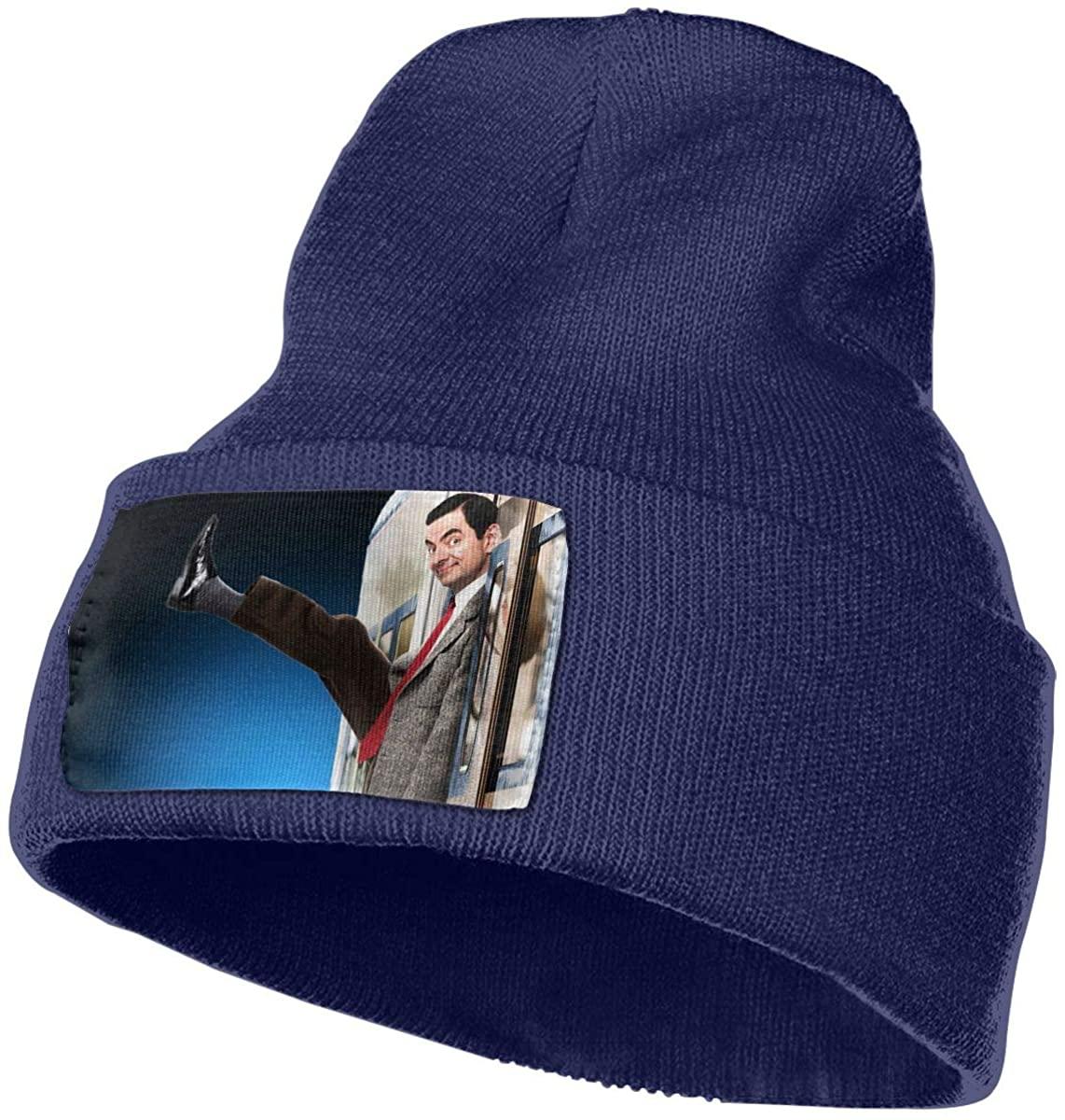 Mr. Bean Unisex Fall Winter Warm Knit Cap Beanie Hat Stretchy Ski Cap, 18x30 cm Navy