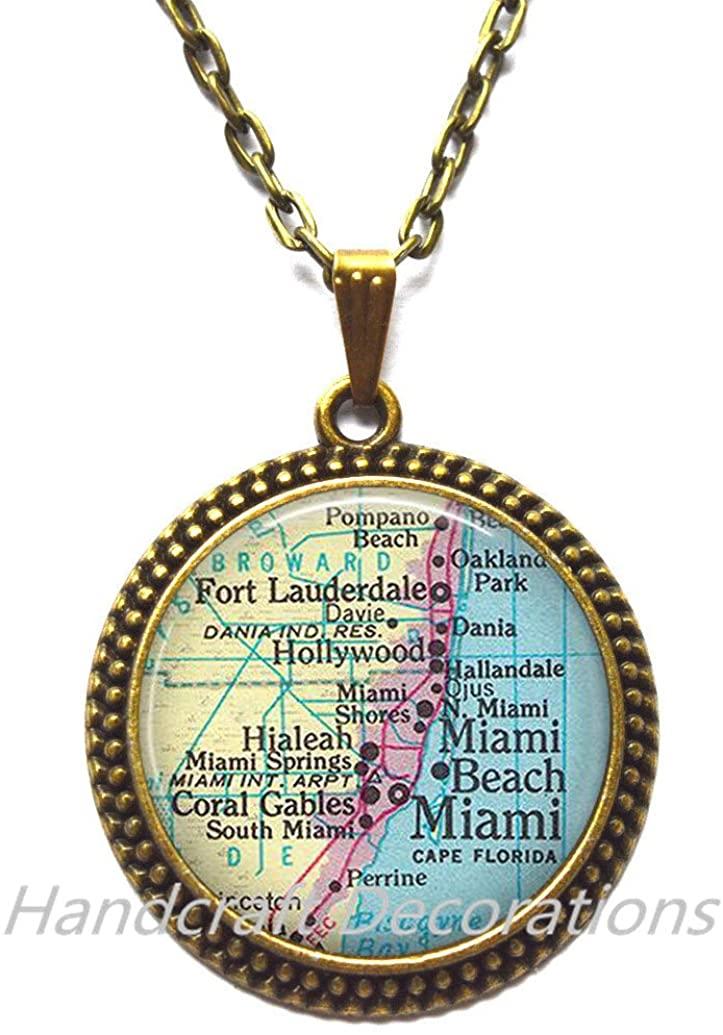 Charming Necklace,Miami map Pendant, Miami Pendant, Ft Lauderdale, Miami Beach, Hialeah, Coral Gables, Miami map Necklace,A0296