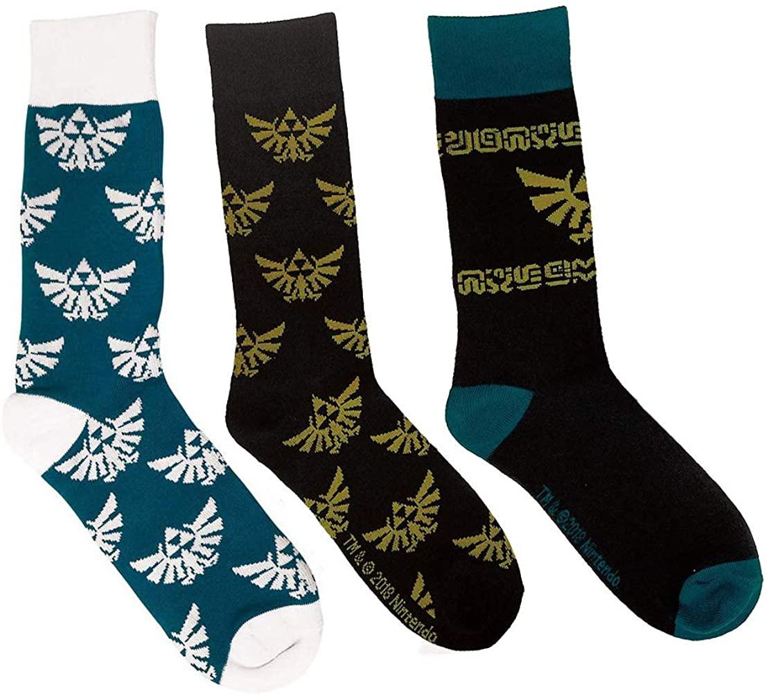 The Legend of Zelda Breath of the Wild Hyrule Crest Patterned Knit Crew Sock 3 Pack Bundle
