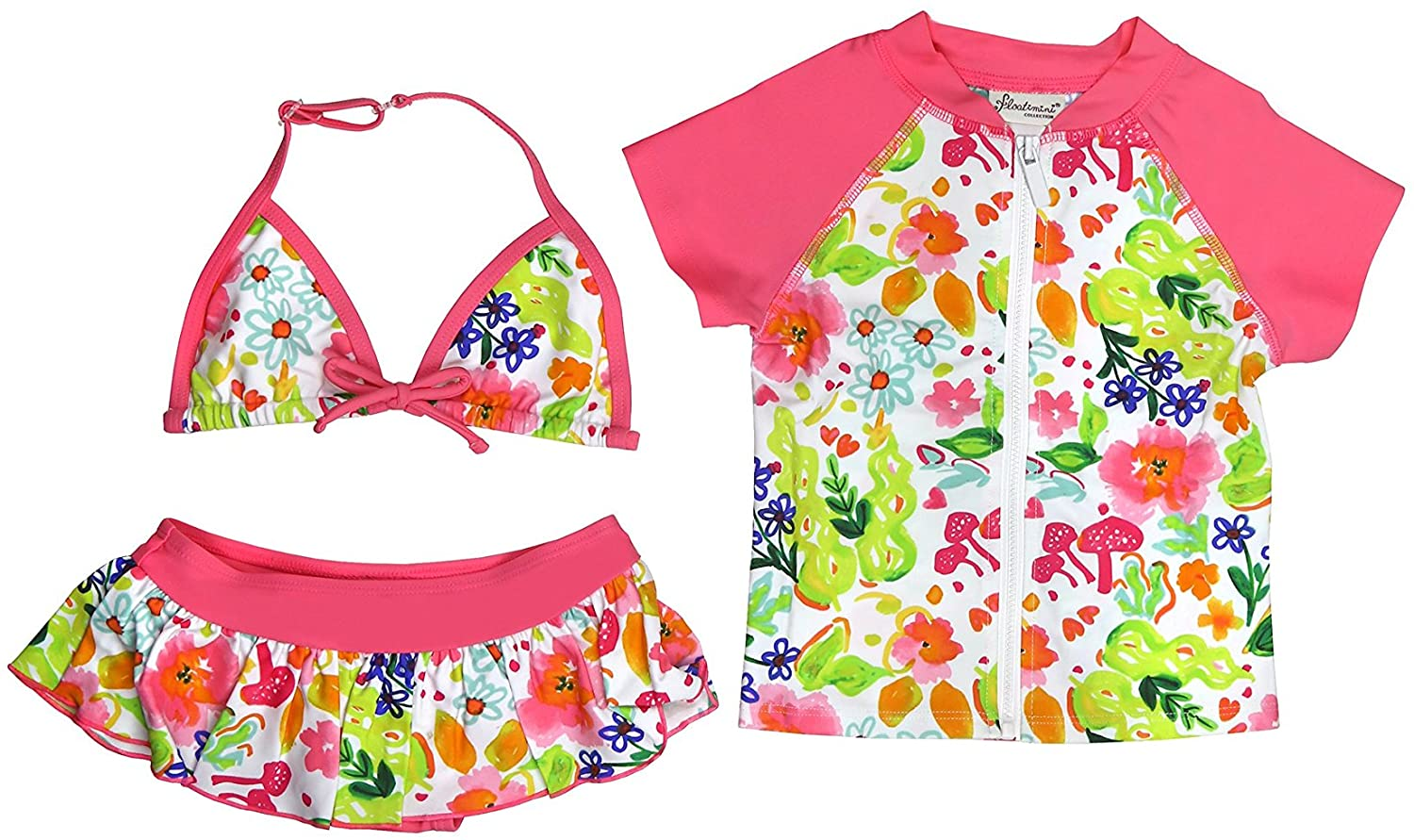Floatimini Little Girls' Flower Garden Bikini & Short Sleeve Rash Guard 3 pc Set