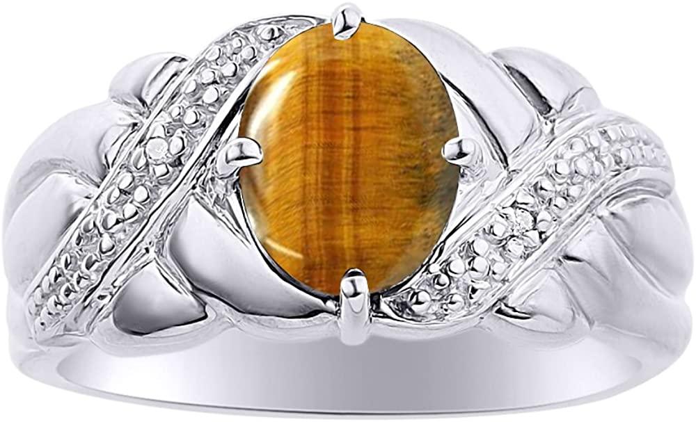 Diamond & Tiger Eye Ring Set In Sterling Silver - Color Stone Birthstone Ring