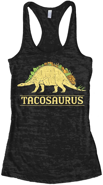 Threadrock Women's Tacosaurus Dinosaur Taco Burnout Racerback Tank Top