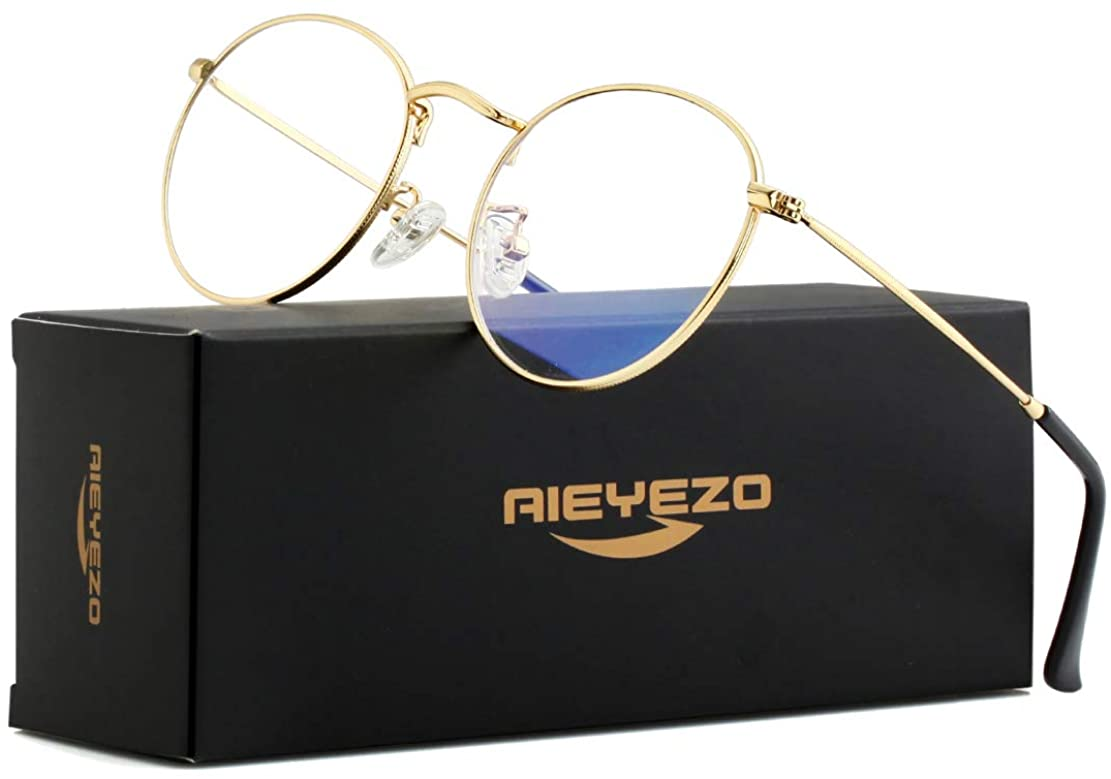 Blue light Blocking Glasses Classic Round Glasses Vintage Circle Metal Eyeglasses Frames 100% Anti-Blue Light Lens