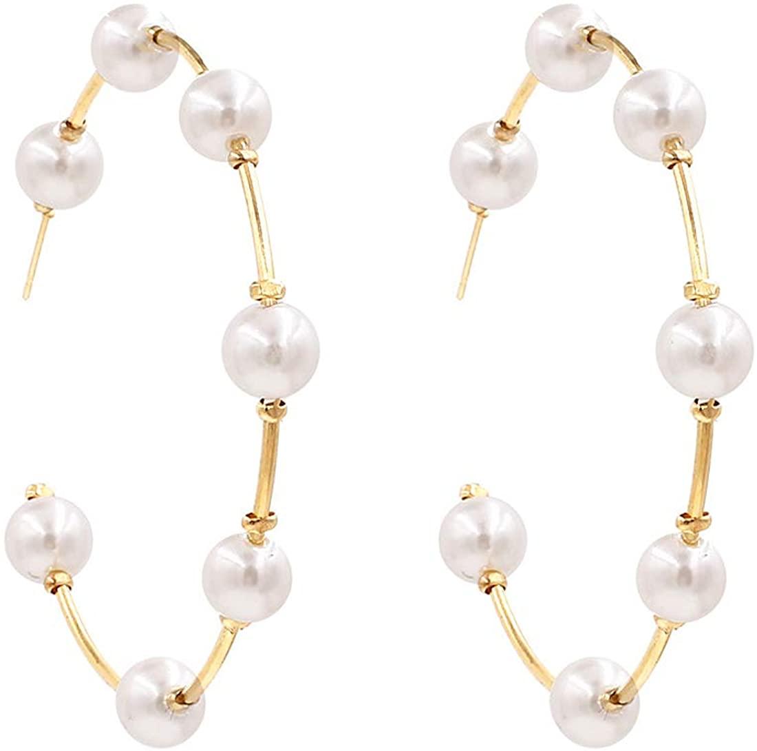 Gold Pearl Hoop Earrings for Women Fashion Lightweight Pearl Earrings Drop Dangle Earrings for Girls Jewelry Gifts