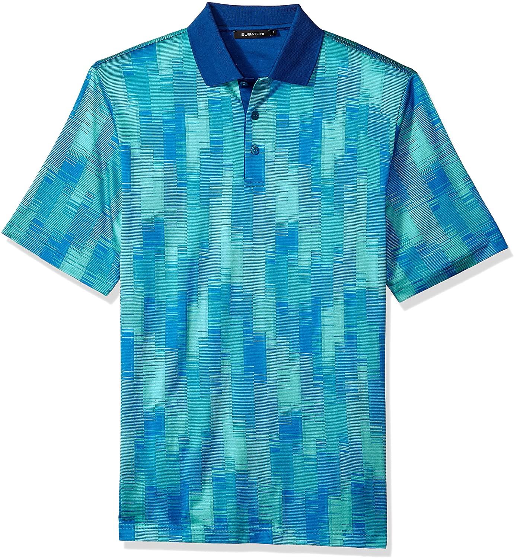 Bugatchi Men's Single Mercerized Turquoise Print Polo Shirt