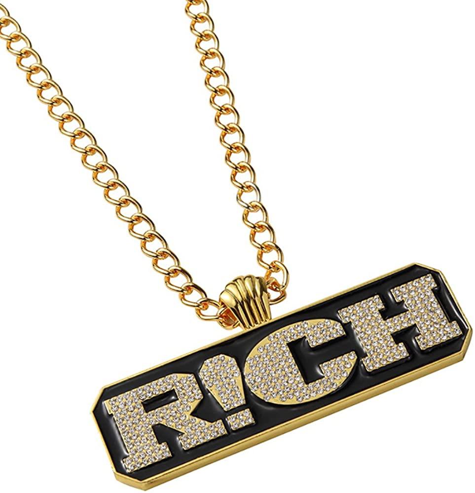 TIDOO Jewelry Men's Cool Hip Hop Rich Pendant Golden Necklace
