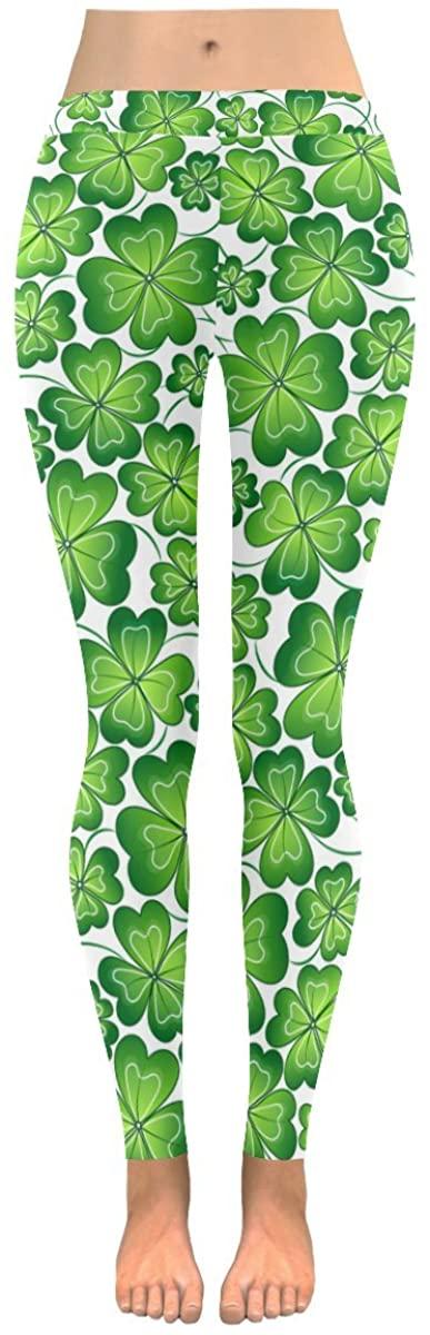 INTERESTPRINT St. Patrick's Day Shamrock Custom Stretchy Capri Leggings Skinny Pants for Yoga Running Pilates Gym S