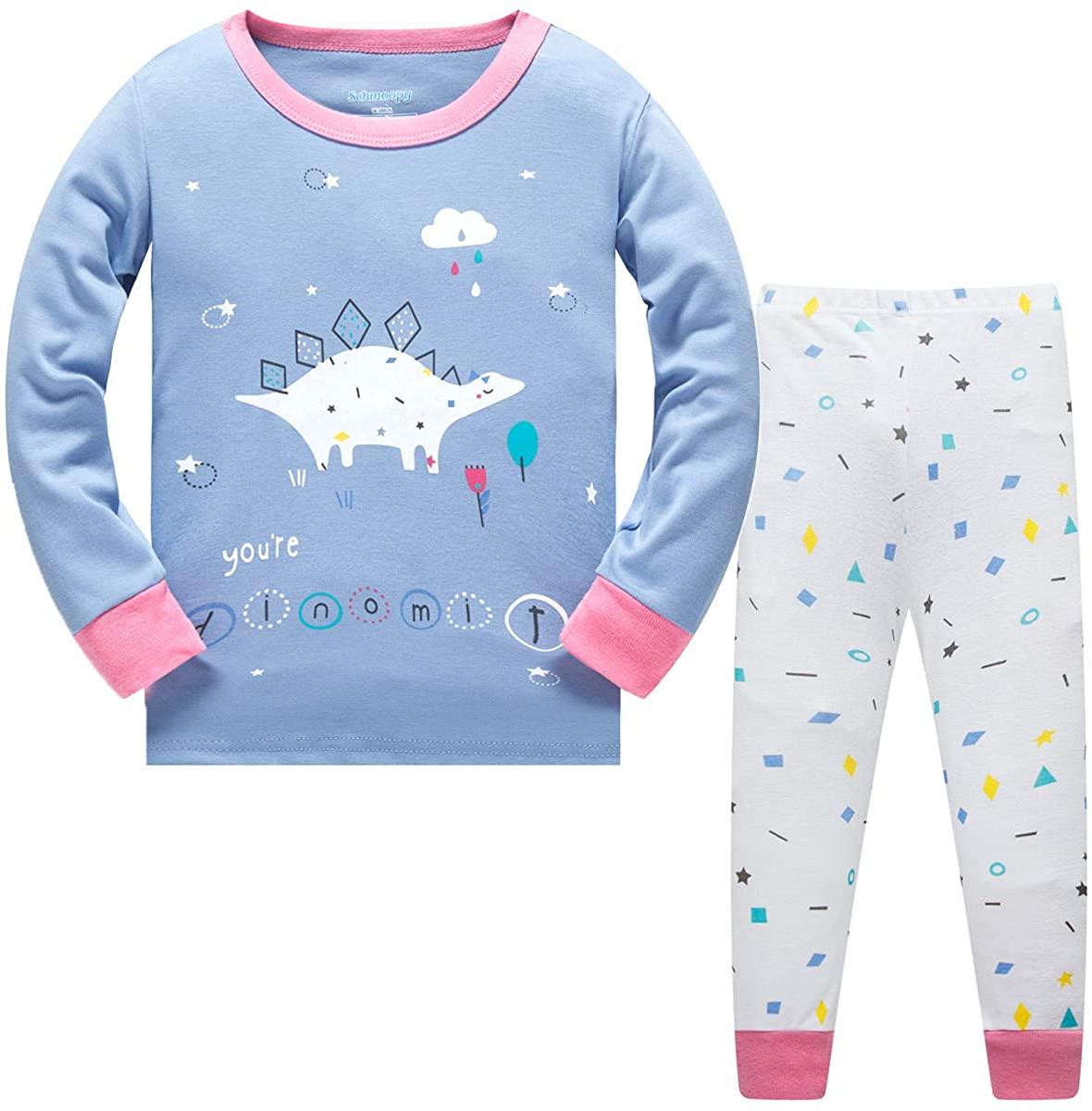 Schmoopy Girls Pajamas Long Sleeve Dinosaur Pjs Set Size 6 Purple