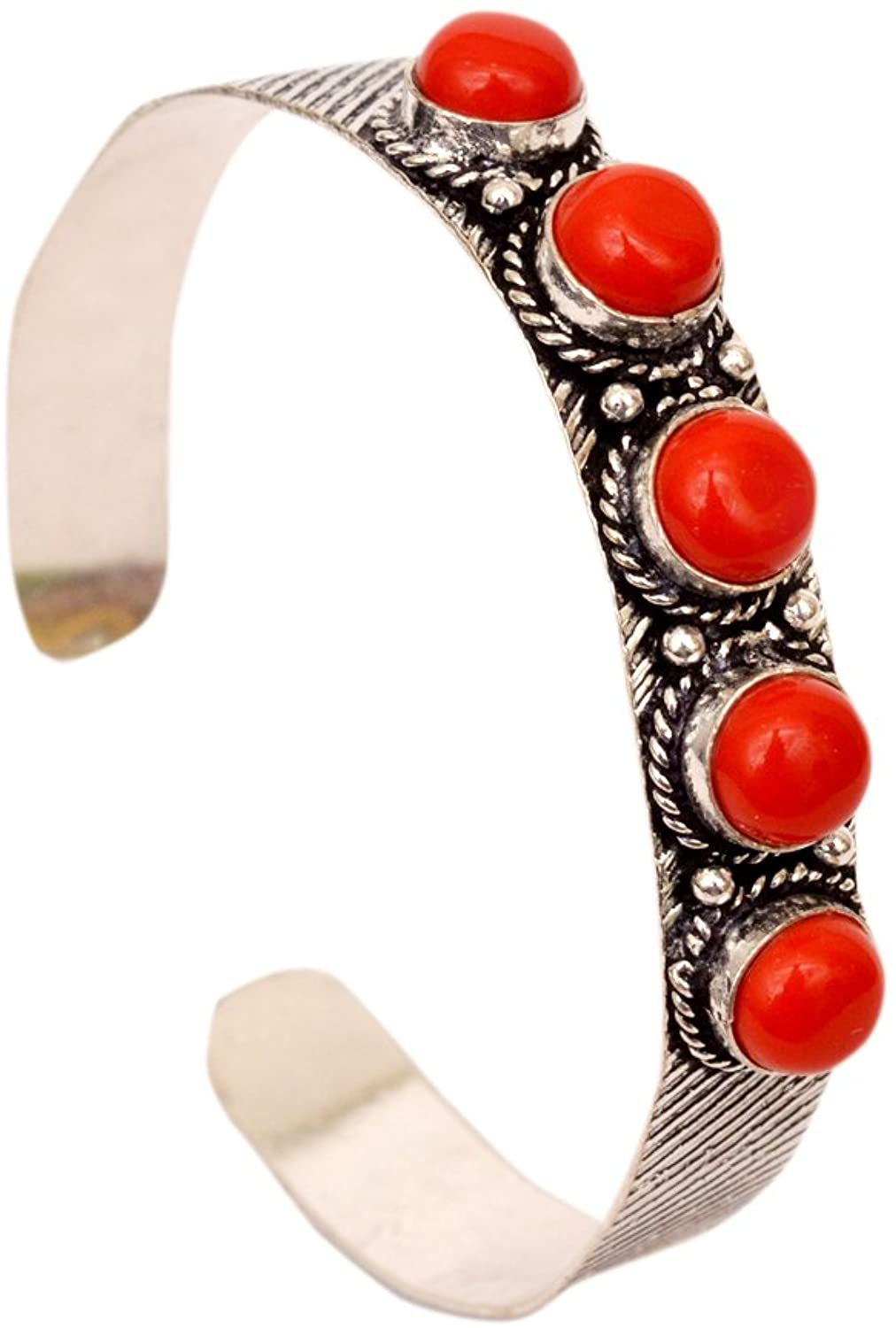 JD&JD Handmade Silver Plated Coral Gemstone Adjustable Bangle Bracelet Jewelry KE1122 GM16
