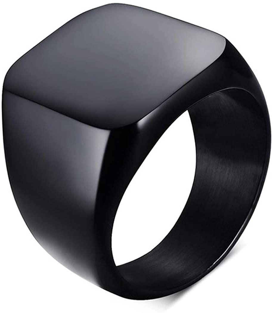 enhong Signet Biker Rings Solid Polished Stainless Steel Ring for Men Size 7-15,Black Gold Silver Great Gift