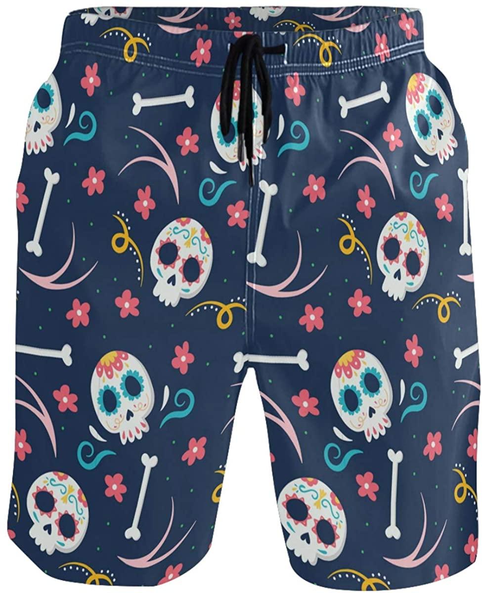 RunningBear Men's Swim Trunks - Dead Day Dia Muertos Halloween Mexican Skull Beach Short Men Quick Dry Bathing Suit Shorts