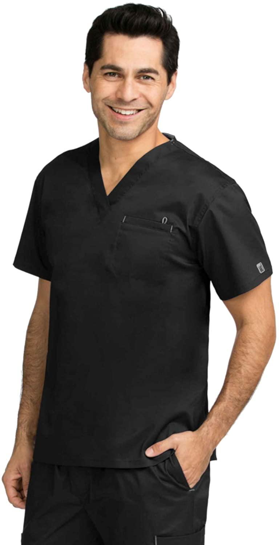 Med Couture Signature Men's One-Pocket Top, Black, X-Large