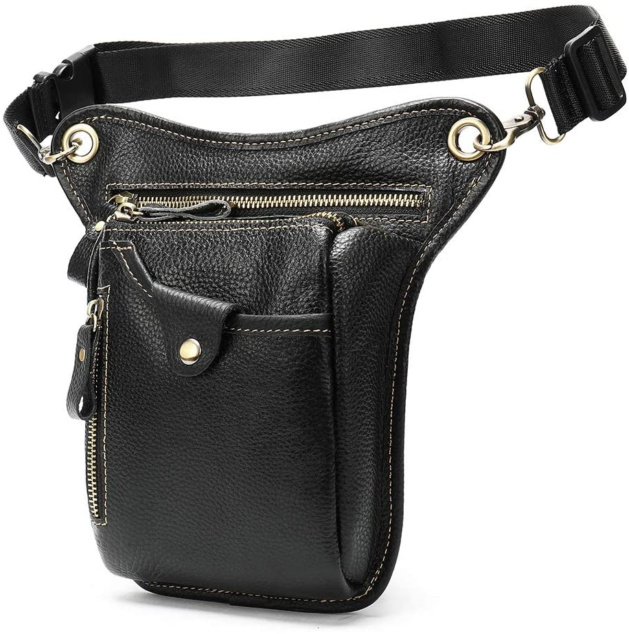 Genuine Leather Thigh Drop Waist Leg Bag,Motorcycle Bike Waist Leg Pack Bag,Multi-Function Thigh Waist Holster Pack,Tactical Military Thigh Hip Pack Tool Pouch for Men and Women (Black)