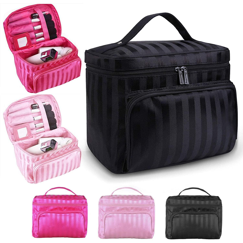 Professional Large Cosmetic Case Makeup Bag Storage Handle Organizer Travel Kit (pink)