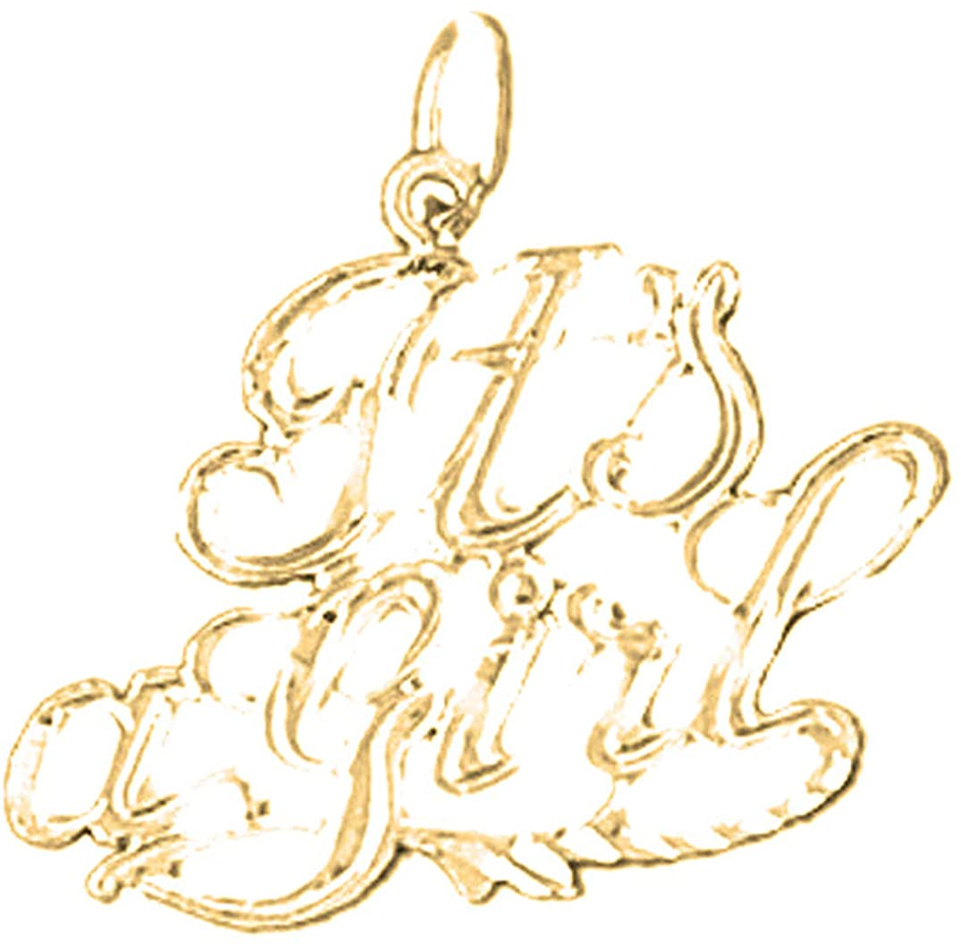 Jewels Obsession Silver It's A Girl Pendant | 14K Yellow Gold-plated 925 Silver It's A Girl Pendant