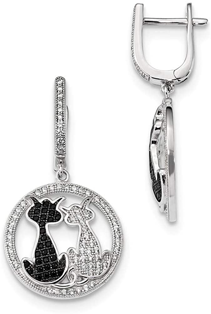 CZ Brilliant Embers Cat Dangle Earrings, Rhodium-Plated Sterling Silver (36X19MM)