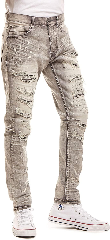Smoke Rise Mens Fashion RIP & Repair Jeans