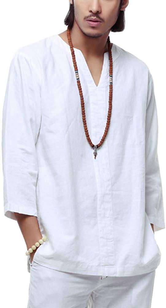 Hotmiss Mens Cotton Linen Long Sleeve Henley Shirt Beach Yoga Loose Fit Tees