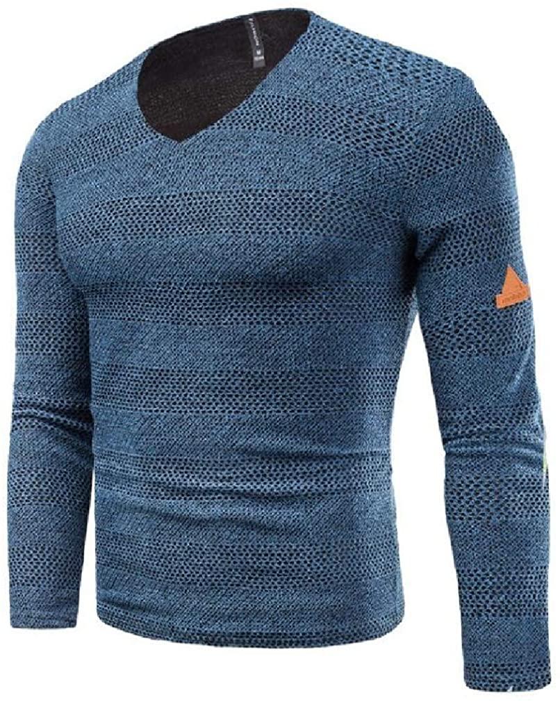 YYear Mens Long Sleeve Plain Knit Regular Fit Autumn Winter Pullover Sweaters