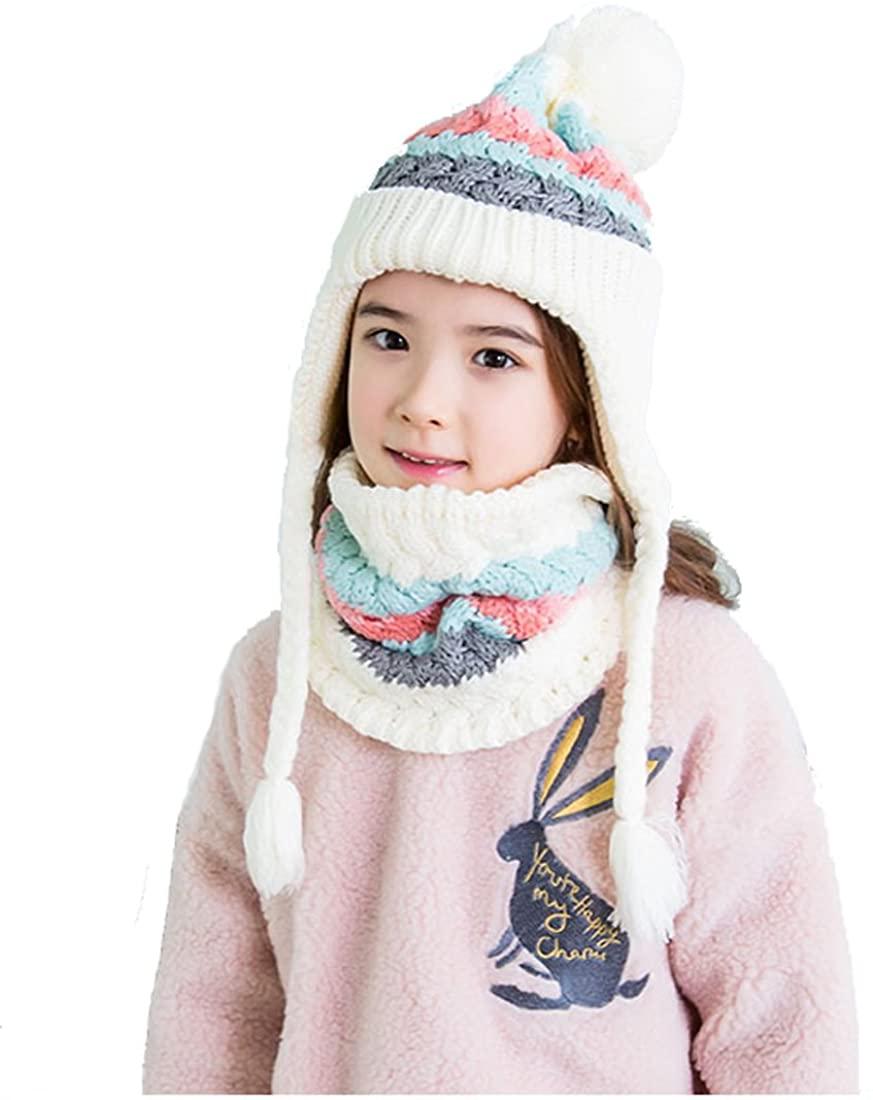 Yoohome Kids Cute Winter Cap, Scarf, Gloves Three-Piece Set Great