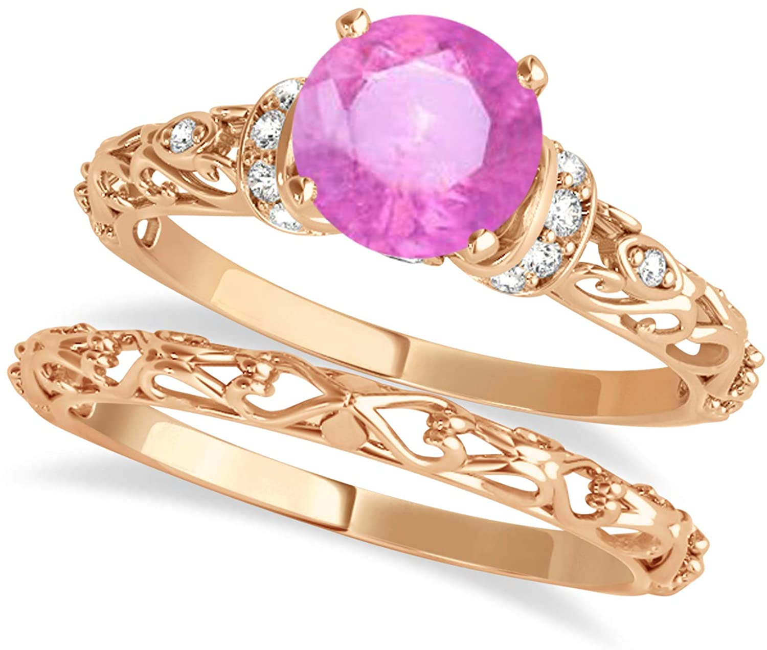 (0.87ct) 14k Rose Gold Pink Sapphire and Diamond Antique-Style Bridal Set