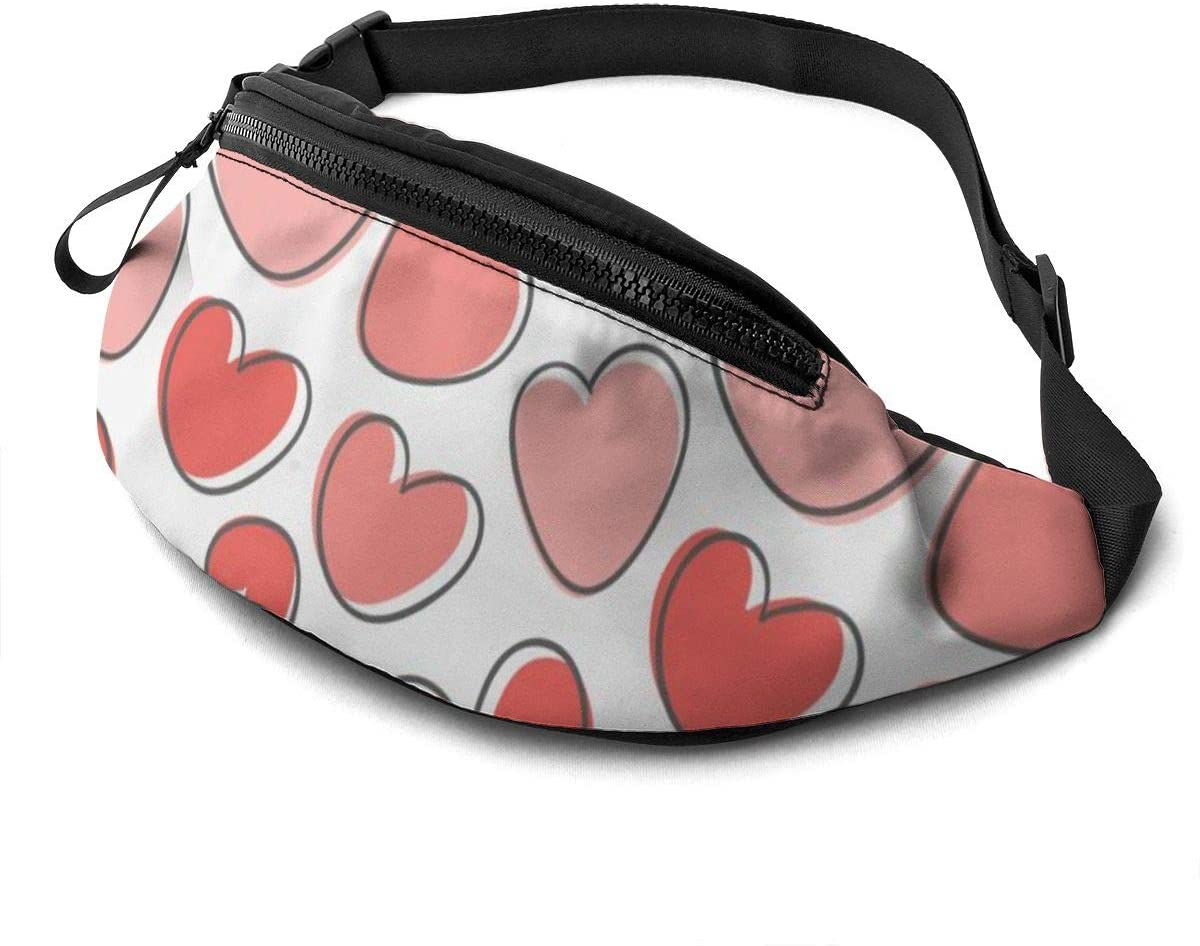 Valentines Day Pattern With Hearts Fanny Pack For Men Women Waist Pack Bag With Headphone Jack And Zipper Pockets Adjustable Straps