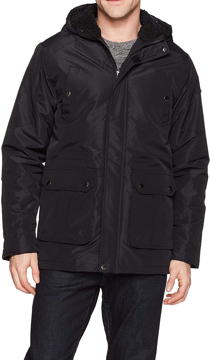 English Laundry Men's Midweight Parka with Faux Sherpa Lining