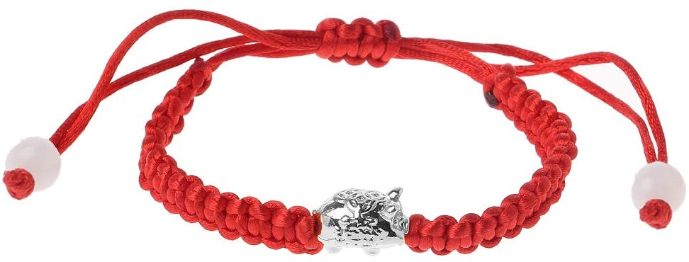chefensty New Year Lucky Wealthy Pig Red String Braided Bracelets, Kabbalah Fashion Jewelry