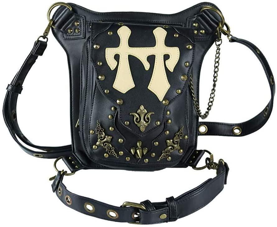 Vintage Retro Rock Bags Gothic Men Women Leather Rivets Leg Waist Bags