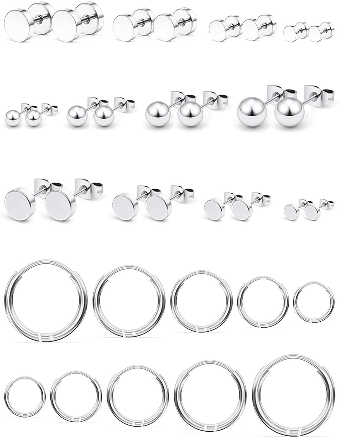 Cisyozi 4-17 Pairs 18G Mix Color Stainless Steel Mens Womens Stud Earrings Cartilage Ear Piercings Helix Tragus Barbell Plugs Tunnel 3-6mm