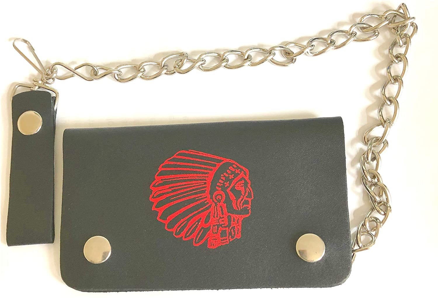 Trucker, Skaters Chain Leather Wallet with Native American Indian Chief Print