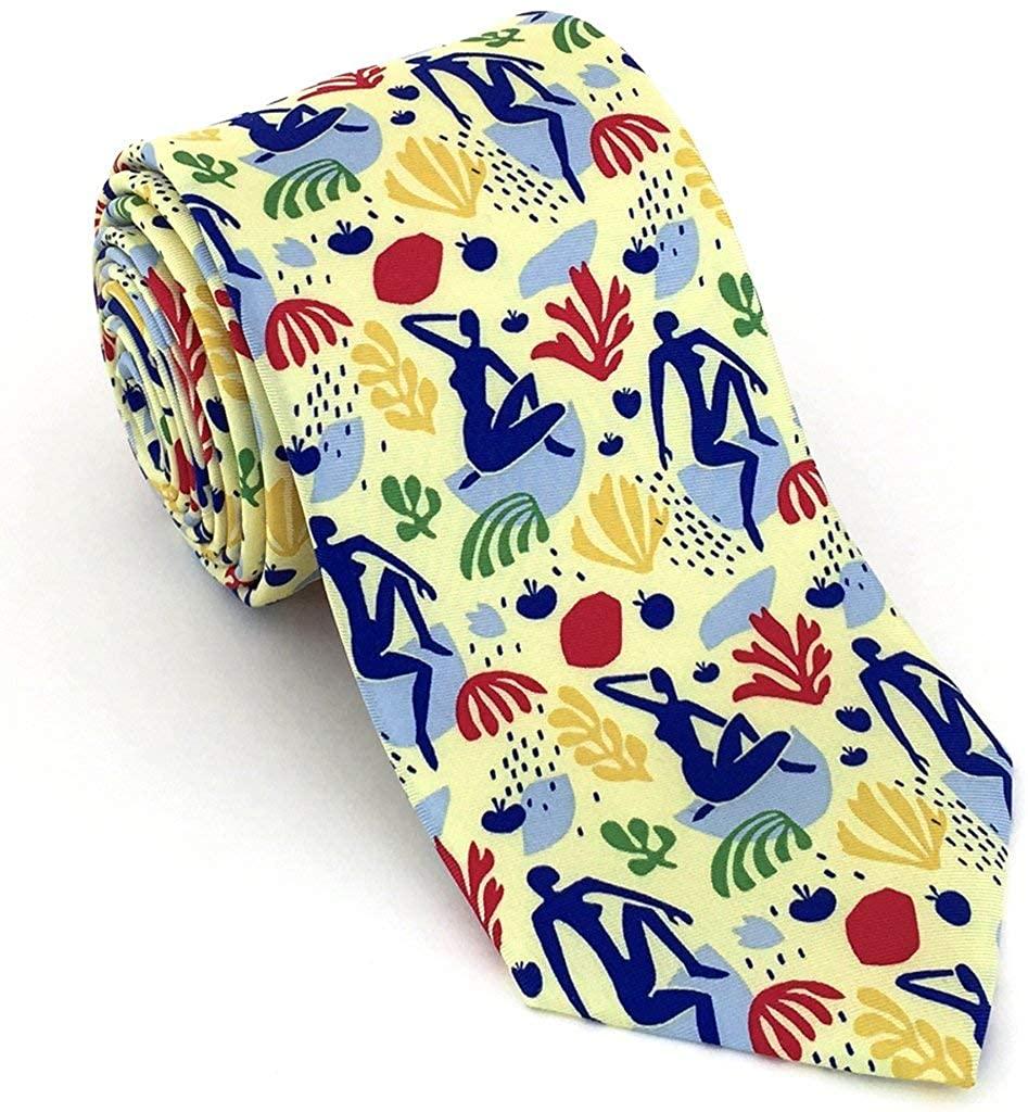 Josh Bach Men's Silk Necktie, Modern Art Themed Tie in Yellow, Made in USA