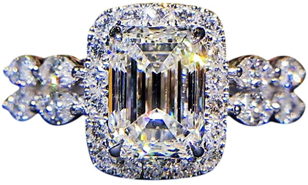 gala Hot New Princess Square Simulation Diamond Ring Marriage Proposal Carat Shaped Diamond Female Wedding Ring