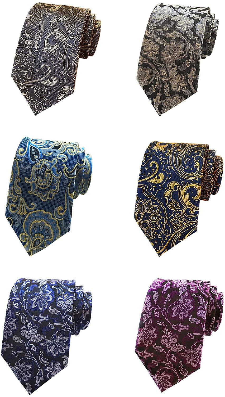 BESMODZ Lot 6 PCS Men Floral Tie Silk Necktie Luxury Woven Wedding Neck Ties Set
