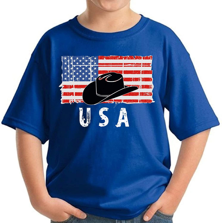 Awkward Styles Cowboy Hat USA Youth Shirt Stripes and Stars USA Flag Tshirt for Boy Girl