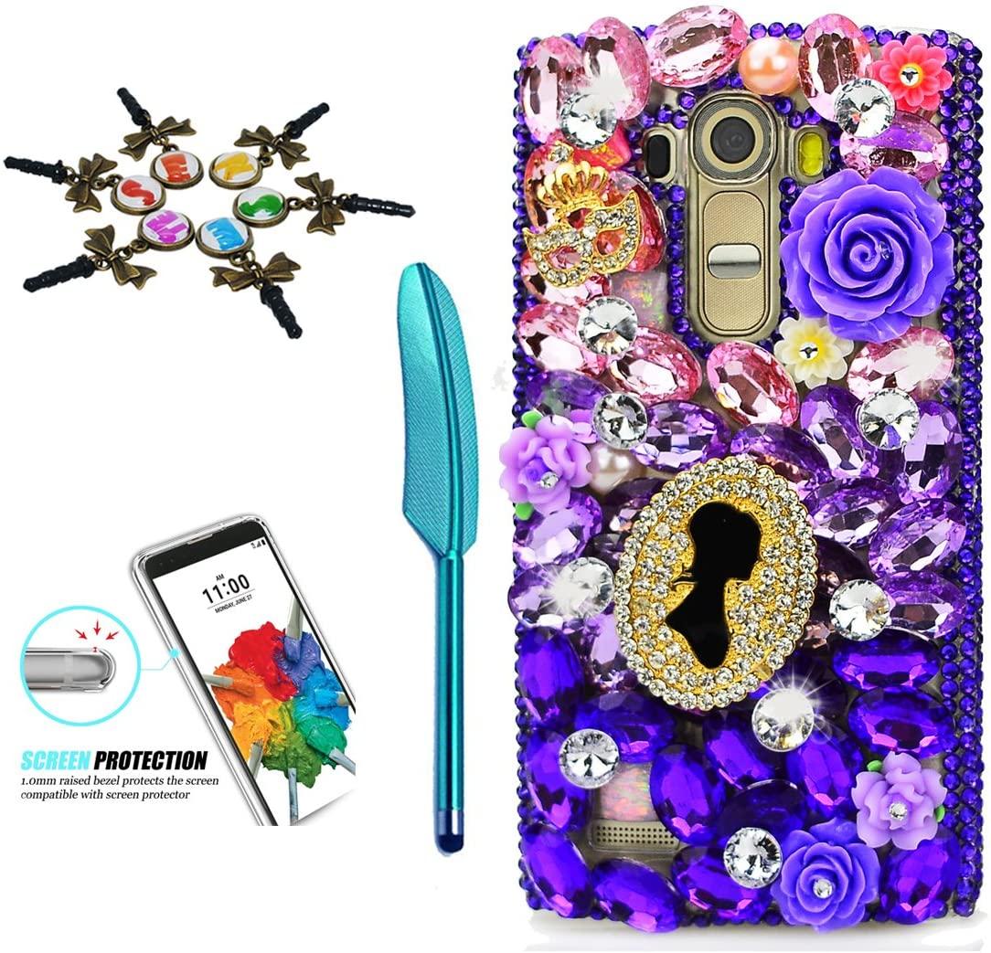 STENES LG Stylo 3 Case - 3D Handmade Crystal Sparkle Diamond Rhinestone Hybrid Cover For LG Stylo 3/Stylo 3 Plus/LG LS777 With Retro Anti Dust Plug & Stylus Pen - Rose Flowers Girls Statue/Dark Purple