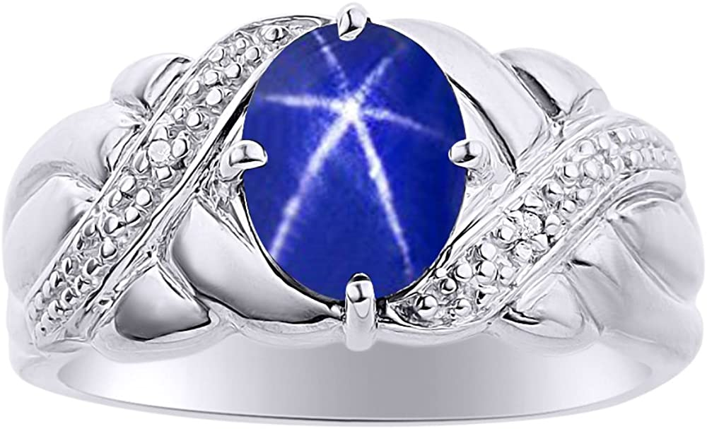 Diamond & Blue Star Sapphire Ring Set In 14K White Gold - Color Stone Birthstone Ring