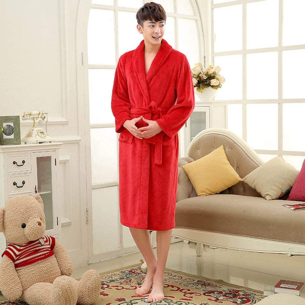 llwannr Bathrobe Robe Nightgown Sleep,Unisex Flannel Mens Pajamas Lovers Winter Long Bath Robe Sleepwear for Men Women Bathrobe Pijama Nightwear Male Long Sleeve,red Men,XXL