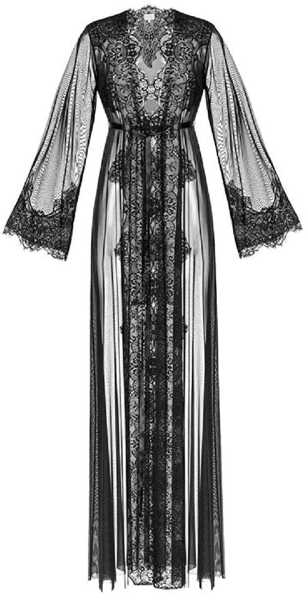 BathGown Women's Black Lace-Trimmed Tulle Bridal Robe Lingerie Sleepwear Lingerie Boudoir Valentines Gift