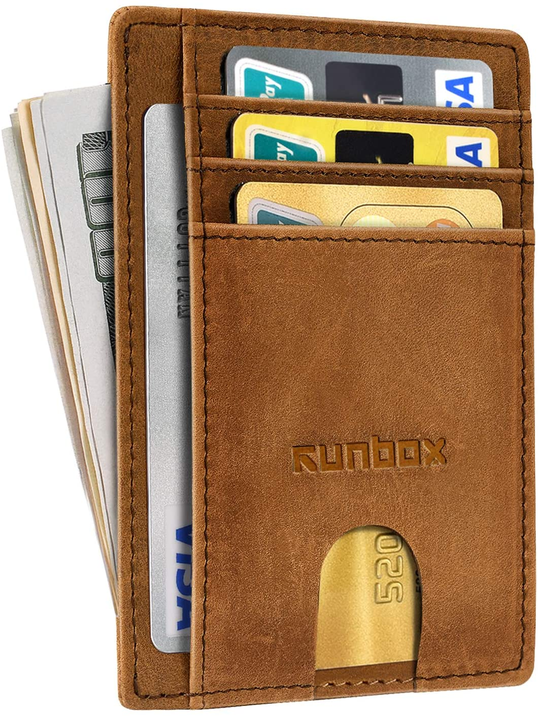 Minimalist Slim Front Pocket Wallets for Men or Women with RFID Blocking & Genuine Leather (Crazy Horse Brown 1)