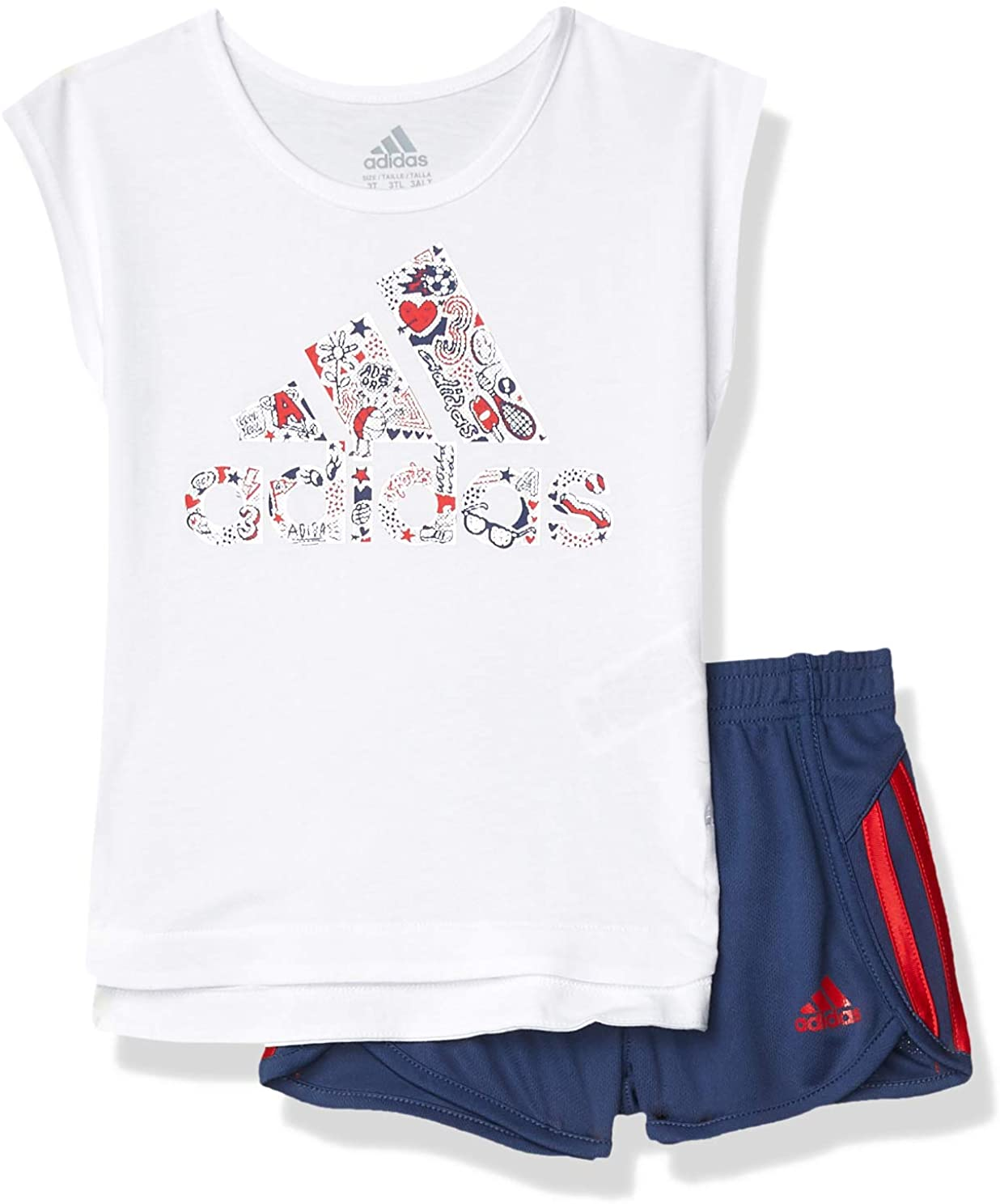 adidas Girls Sleeve Tee & Sport Short Clothing Set