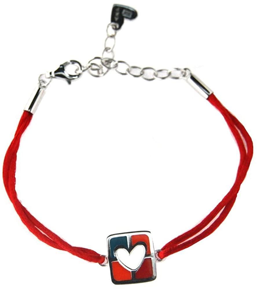 Agatha Ruiz de la Prada Sterling Silver Square Blue Orange and red Enamel Open Heart red Cord Bracelet