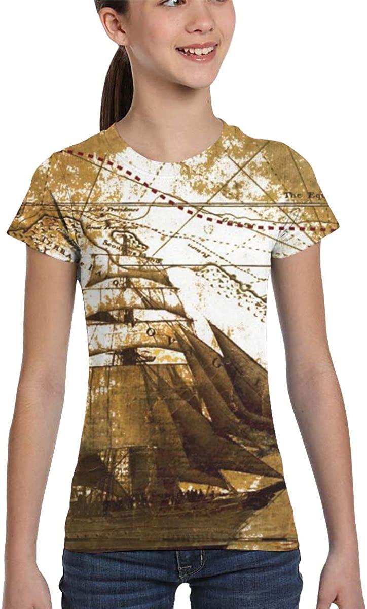 L6Nv4o@A Girls Short Sleeve Nautical Vintage Sailing Pirate Ship Shirts, Fashion Blouse Clothes, XS-XL