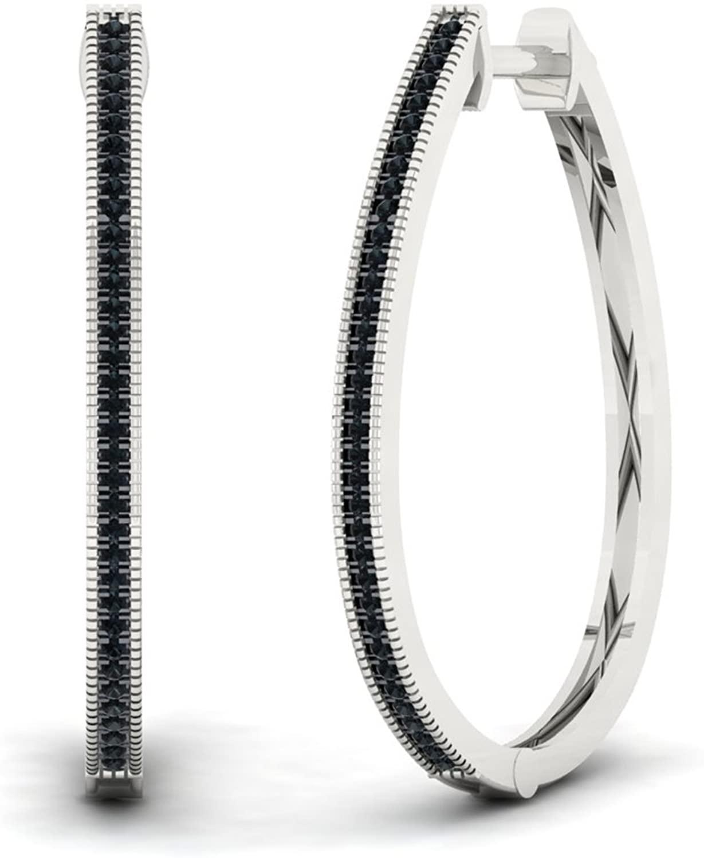 Sterling Silver 1/4ct TW Black Diamond Hoop Earrings (I-J, I2)