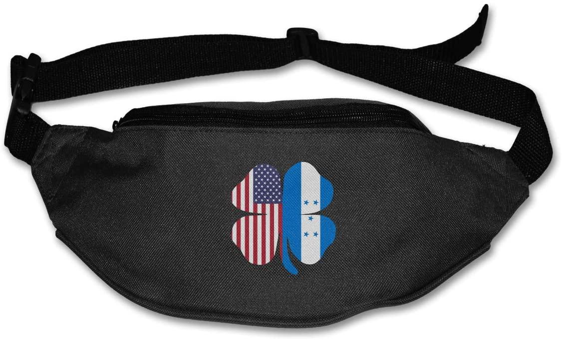 SWEET-YZ Unisex Waist Pack American Honduras Flag Shamrock Flat Fanny Bag Pack for Sport Running